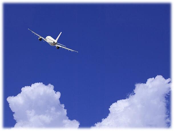飛行機が空を飛ぶ